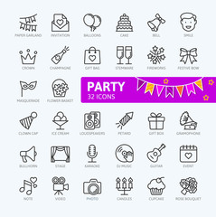 Party elements - minimal thin line web icon set. Outline icons collection. Simple vector illustration.