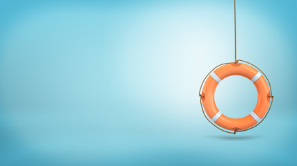 3d rendering of a single orange life buoy hangs down from a rope on a blue background. Fotomurales