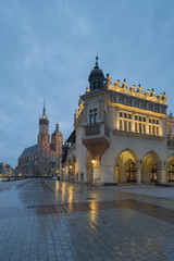 Cracow (Krakow), Poland - Main Square with St. Mary's Basilica at Dawn