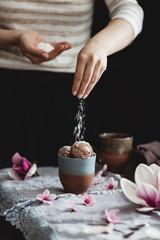 Chocolate ice cream with coconut