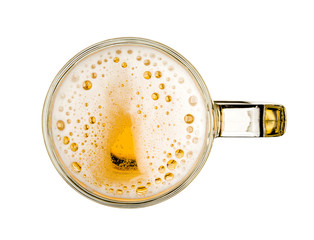 Papiers peints Biere, Cidre Mug of beer with bubble on glass isolated on white background celebration object design top view