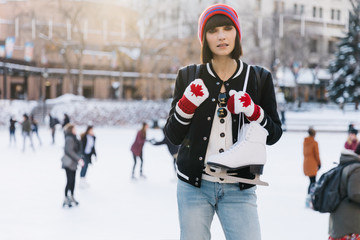 Girl skating outdoors in the winter