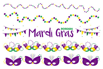 Set, collection of vector hand drawn borders for Mardi Gras party design with colorful masks, beads and flags.