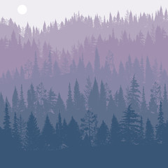 vector landscape with pine trees