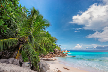 Sunset at tropical beach in Seychelles.