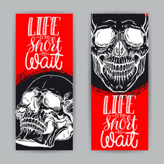two banners of hand drawn human skull