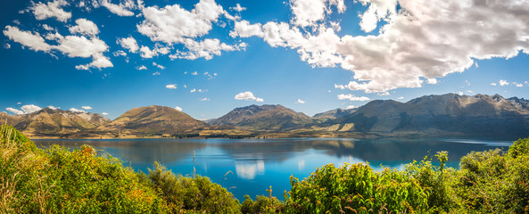Panorama of Lake Wakatipu at Golden Hour,  Queenstown, Otago Region, New Zealand, Southern Island.