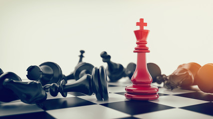 Red in the middle black chess chess fall. 3d rendering and illustration.