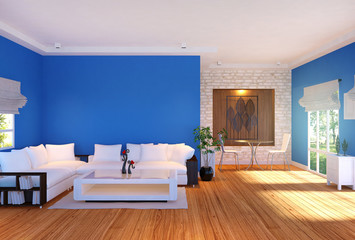 Modern living room interior with furniture and blue empty wall, 3D rendering