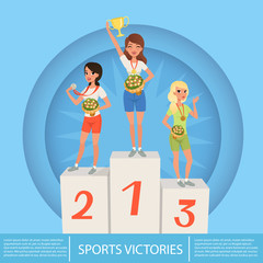 Three female athletes with trophy and medals on pedestal. Sport competition. Awards ceremony. Cartoon young girls in sportswear. Flat vector design