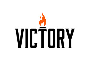 Letter Victory with Olympic Torch Fire Symbol Logo Vector
