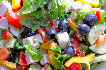 traditional Greek salad with cheese Sirtaki.