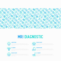 MRI diagnostics concept with thin line icons. Modern vector illustration of laboratory equipment for web page template, print media, banner.
