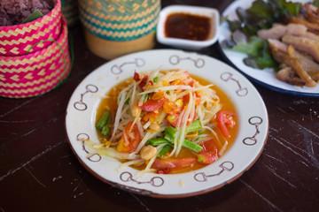Healthy of Thai green papaya salad
