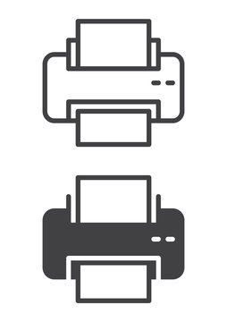 Printer icon, line and solid version, outline and filled vector sign, linear and full pictogram isolated on white. Symbol, logo illustration. Pixel perfect vector graphics