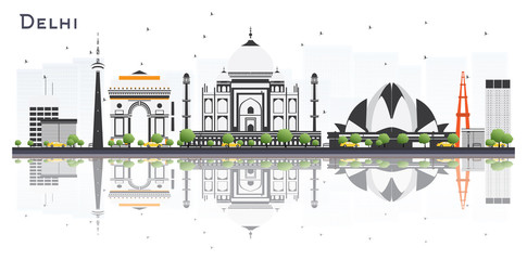 Delhi India City Skyline with Color Buildings and Reflections Isolated on White Background.
