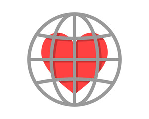 love heart circle globe image vector icon logo