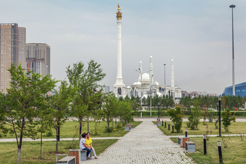 Wall Murals ASTANA, KAZAKHSTAN - JULY 6, 2016: Green square at the mosque Hazret Sultan