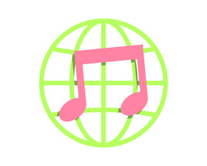 musical notes melody globe image vector icon logo