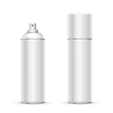 Blank aluminum spray can. Template metalllic hairspray, deodorant bottle vector