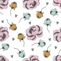 Seamless pattern with Valentine's day with flowers and hearts. Vector illustration.