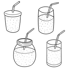 vector set of smoothie
