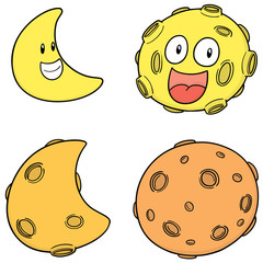 vector set of moon