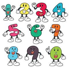 vector set of number cartoon