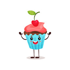 Cute happy cupcake cartoon character vector Illustration