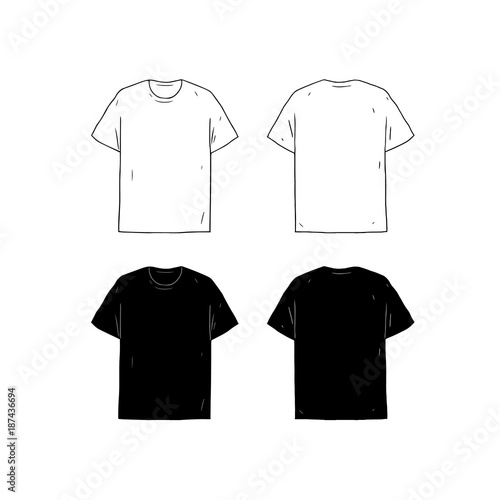 Set Of Blank T Shirt Design Template Hand Drawn Vector Illustration