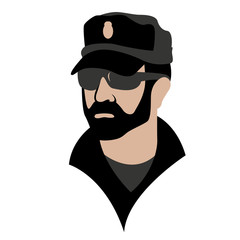 policeman face vector illustration flat style front side