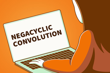 Woman looking at a laptop screen with the words negacyclic convolution