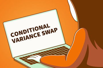 Woman looking at a laptop screen with the words conditional variance swap