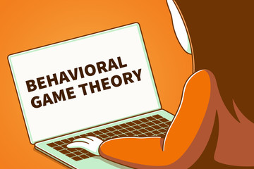 Woman looking at a laptop screen with the words behavioral game theory