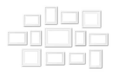 Collage of white blank photo frames, thirteen pieces set, interior decor mockup, 3d illustration