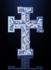 Diamond cross, Happy Easter background, vector illustration
