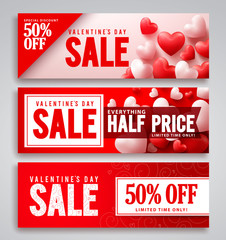 Valentines day sale vector banner design set with red hearts background and discount text for valentines seasonal shopping promotion. Vector illustration.
