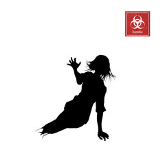 Black silhouette of women zombie without legs on white background. Isolated image of undead monster