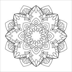 Flower mandala vector illustration. Oriental pattern, vintage decorative elements. Islam, Arabic, Indian, moroccan, turkish ottoman motifs. Coloring page