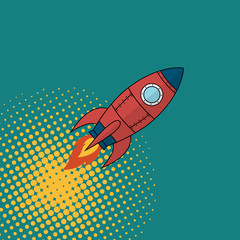 Space rocket comics book style.