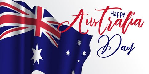 Happy Australia day with Waving flag