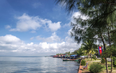 view of famous kep crab market restaurants on cambodia coast