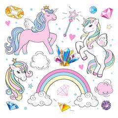 unicorn and diamond on a white background