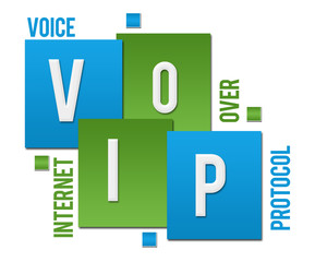 VoIP - Voice Over Internet Protocol Green Blue Squares Text
