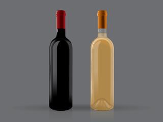 transparent bottles of wine on a black background