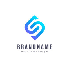 Vector logo design for business. Letter S sign