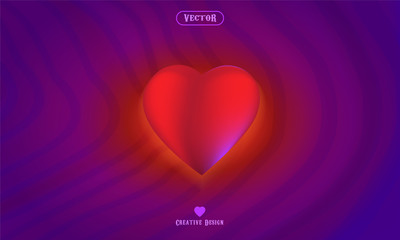 Love and beauty with vector illustration from heart , purple background with wave illustration style
