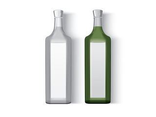 transparent glass bottle  on a white background mock up