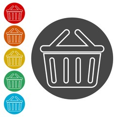 Basket icon, Basket shopping commercial icon
