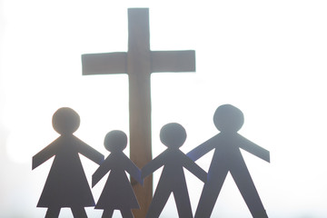 Family and easter cross catholic lifestyle concept